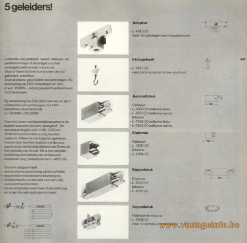 Raak Geleiders - Rail Onderdelen: Adaptor L-4810, Etalagehaak L-4812, Aansluitstuk L4803, L-4823, L-4903, L-4923, Eindstuk L-4804, L-4904, Koppelstuk L-4806 (Conductors and Accessories for Rails: Adaptor, Window Hook, Connector, End piece, Coupler)