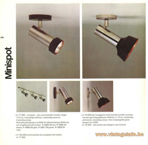 Raak 'Mini Spot' (mini spotlights) A-77.000, A-76.000, A-76.004 And Rail A-193.000