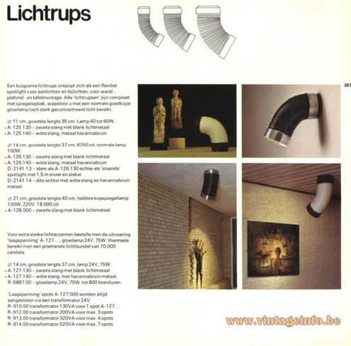 Raak 'Lichtrups' Spots (caterpillar/glow worm spotlights) A-125.130, A-125.140, A-126.130, A-126.140, D-2141.14, A-127.130, A-127.140