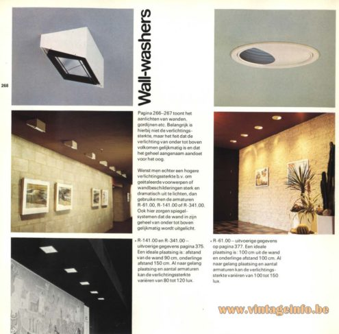 Raak 'Wall-washers' Spots, recessed wall illumination R-141.00, R-341.00, R-61.00
