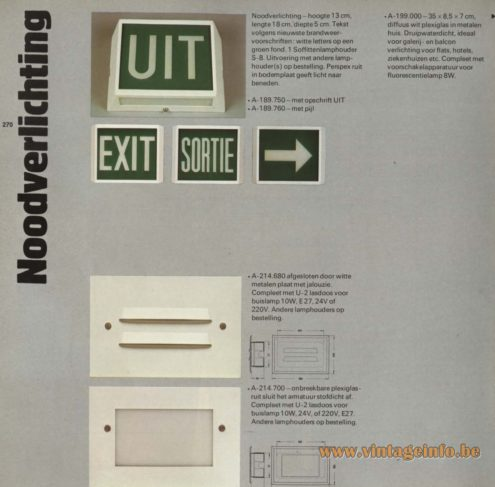 Raak 'Noodverlichting' (emergency lighting) A-189.750, A-189.760, A-214.680, A-214.700, A-199.000