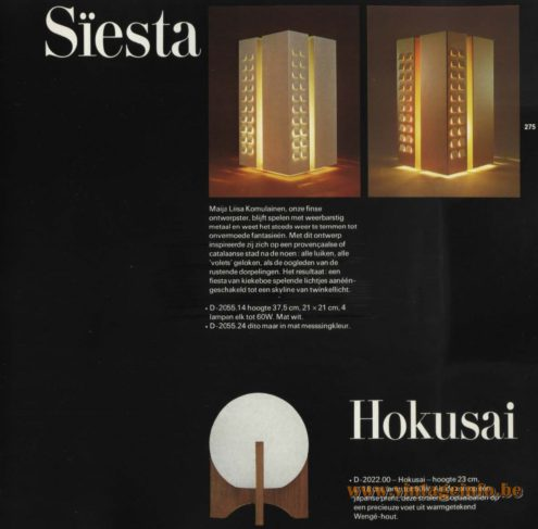 Raak Siësta Table Lamp, designed by Maija Liisa Komulainen, D-2055.14, D-2055.24 and Raak Hokusia Table Lamp D-2022.00