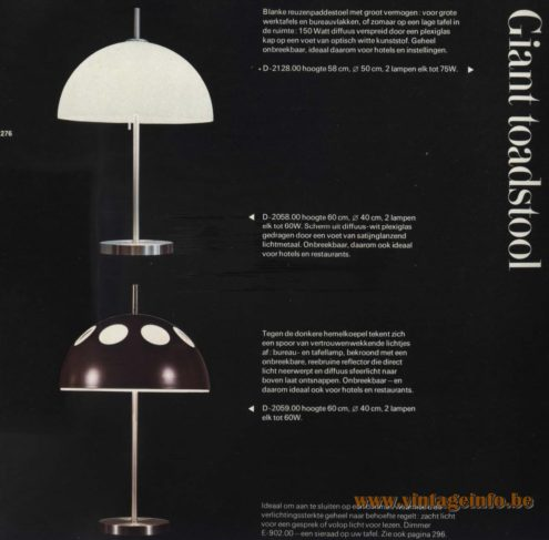 Raak 'Giant Toadstool' Table Lamp D-2058.00, D-2059.00