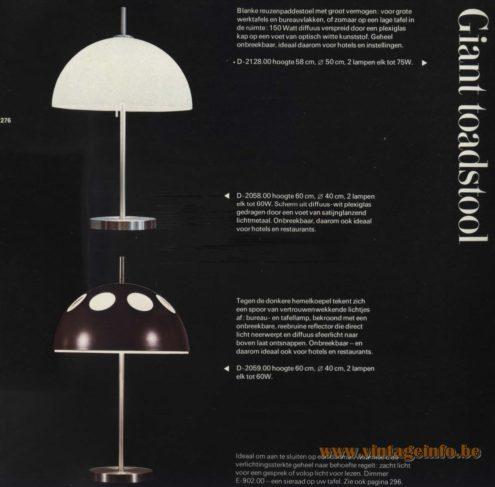 Raak 'Giant Toadstool' Table Lamp D-2058.00, D-2059.00
