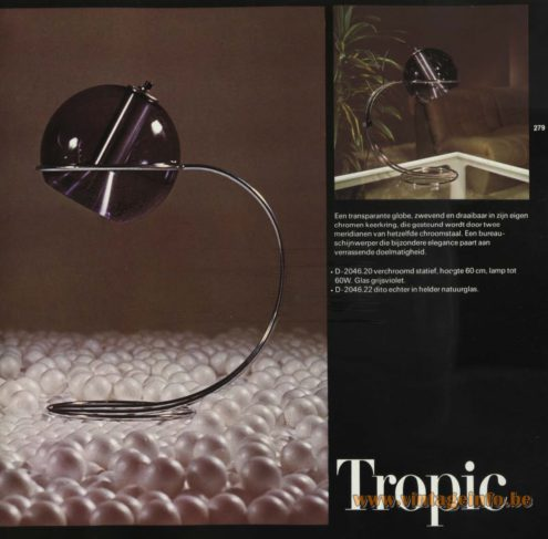 Raak Table Lamp 'Tropic' D-2046.20, D-2046.22 based on the Raak Globe designed by Frank Ligtelijn.