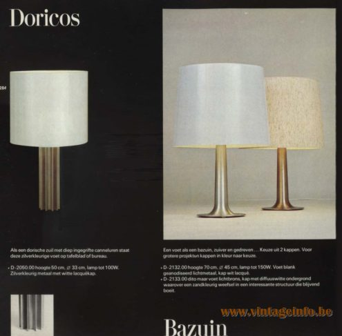 Raak 'Doricos' Table Lamp D-2050.00 and Raak 'Bazuin' Table Lamp D-2132.00, D2133.00