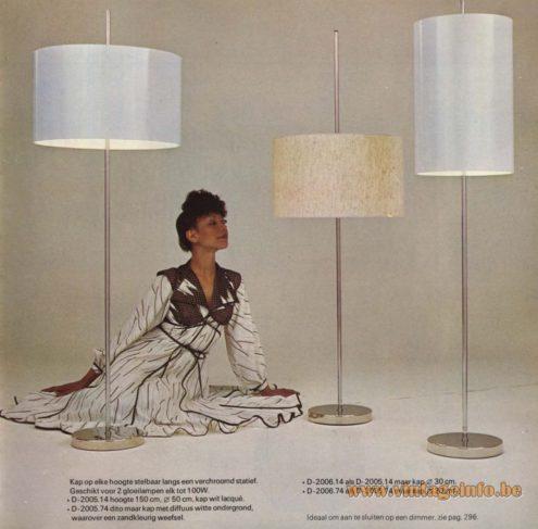 Raak Floor Lamps D-2057.00, D-2005.14, D-2005.74, D-2006.14, D-2006.74