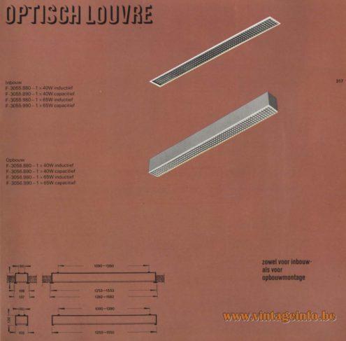 Raak 'Optisch Louvre' - Inbouw: F-3055.880, F-3055.890, F-3055.980, F-3055.990 - Opbouw: F-3056.880, F-3056.890, F-3056.980, F-3056.990