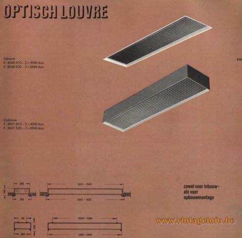 Raak 'Optisch Louvre' Inbouw: F-3048.910, F-3048.520 - Opbouw: F-3047.910, F-3047.520