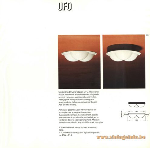 Raak 'UFO' F-3066.000 Ceiling Light - Flush Mount