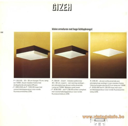 Raak 'Gizeh' Ceiling Light/Flush Mount or Wall Light F-3063.000, P-1263.00, P-238.00, F-3038.000, R-235.00, F-3035.000