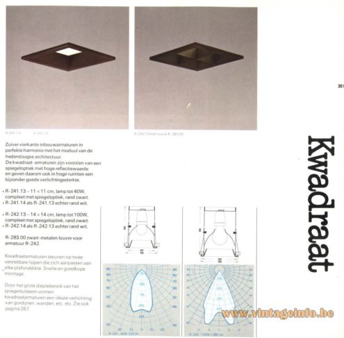 Raak 'Kwadraat' (four-square) R-241.14, R-242.14 Recessed Ceiling Lights