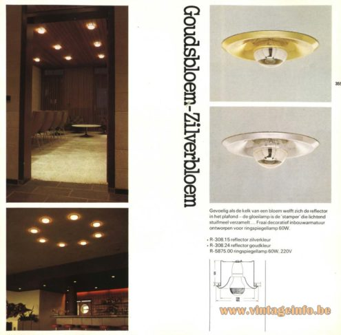 Raak 'Goudsbloem' and 'Zilverbloem' Recessed Lamps (marigold & silver flower)