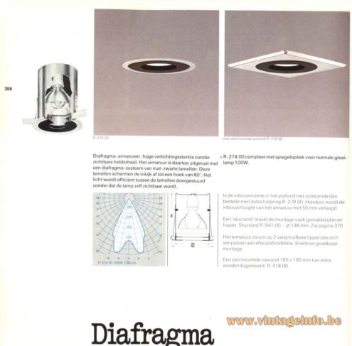 Raak 'Diafragma' (diaphragm) R-274.00 Recessed Ceiling Lights