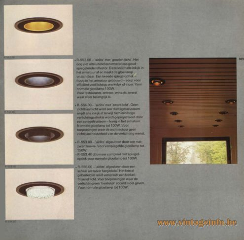 Raak 'Air-light' air conditioning and light in one unit R-552.00 , R-554.00, R-553.00, R-553.40, R-556.00 Recessed Light