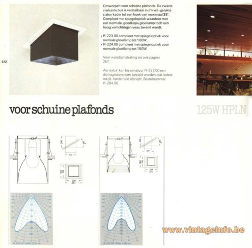 Raak R-223.00, R-224.00 Recessed Light, 'Voor Schuine Plafonds' (for slanting or angled ceilings)