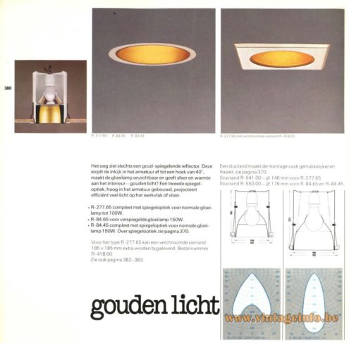 Raak 'Gouden Licht' (golden light) R-277.65 , R-84.65, R-84.45 Recessed Light
