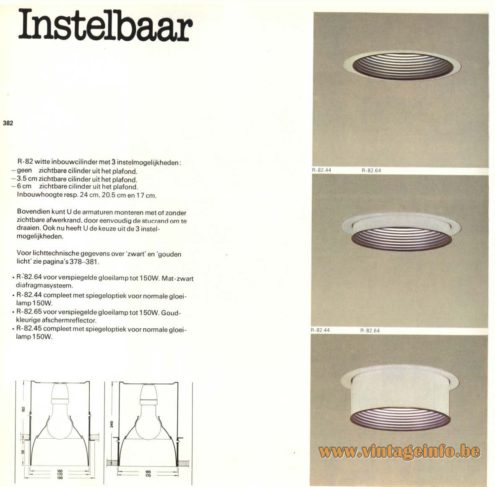 Raak 'Instelbaar' (adjustable) R-82, R-82.64 , R-82.44, R-82.65, R-82.45 Recessed Light