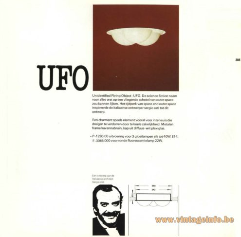 Raak 'UFO' design by Sergio Asti P-1266.00, F-3066.00 Recessed Light - Sergio Asti on Wikipedia (popup)
