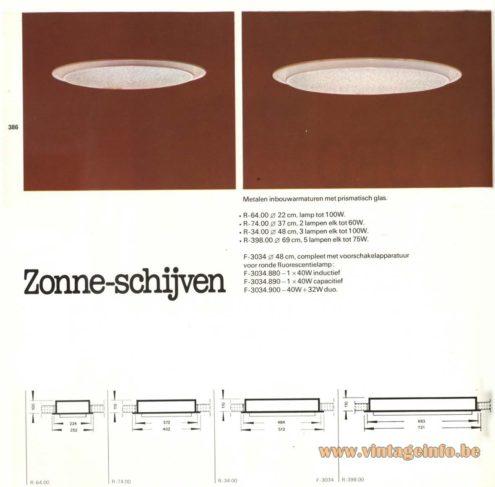 Raak 'Zonne-Schijven' (solar disks) R-64.00, R-74.00, R-34.00, R-398.00, F-3034.880, F-3034.890; F-3034.900 Recessed Light