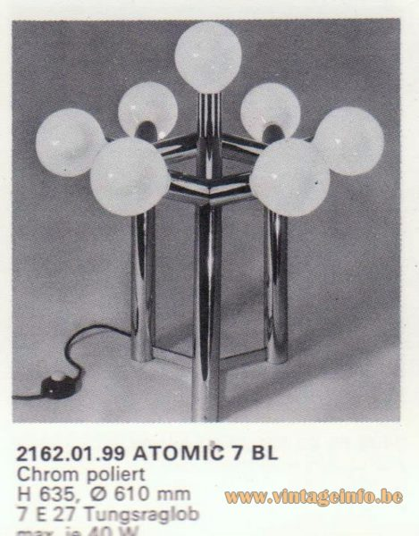 Kalmar Franken KG Table or Floor Lamp Atomic 7 BL
