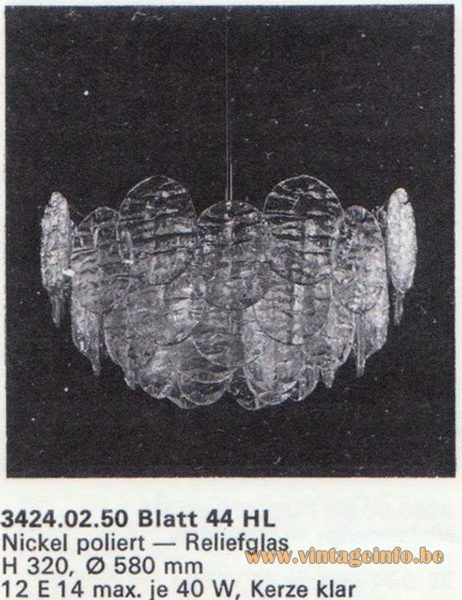Kalmar Franken KG Chandelier Blatt (leaf) 44 HL