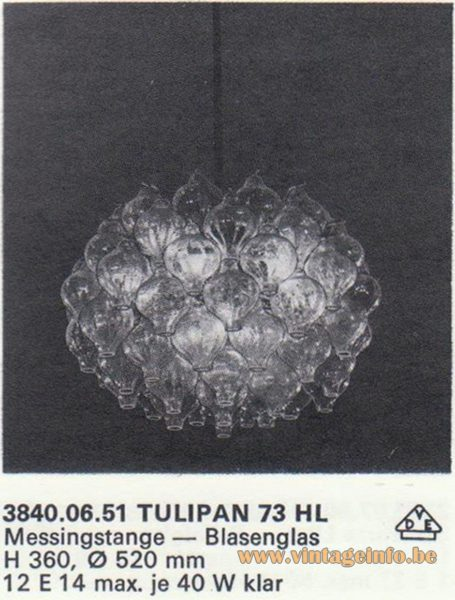 Kalmar Franken KG Tulipan 73 HL Chandelier