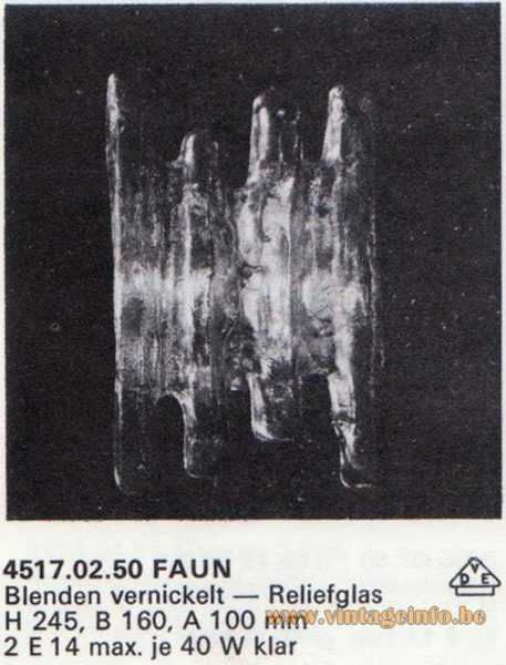 "Kalmar Franken KG ""Ice Block"" Wall Light Faun"
