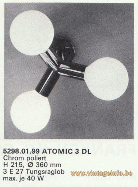 Kalmar Franken KG Flush Mount or Wall Lamp Atomic 3 DL