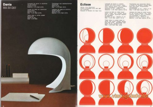 Artemide Catalogue 1973. Artemide Dania Table Lamp and Eclisse Table Lamp. Dania Table Lamp, Design: Dario Tognon. Eclisse Table Lamp, Design: Vico Magistretti.