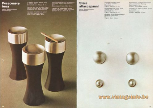 Artemide Catalogue 1973. Artemide Possacenere Terra Ash-Stand & Sfere Attaccapanni Hat-Stand, Design: Emma Gismondi Schweinberger.
