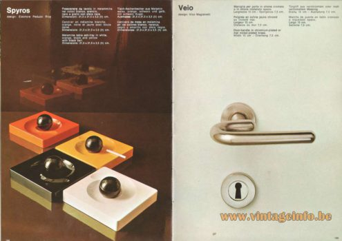 Artemide Catalogue 1973. Artemide Spiros Table Ash-Tray, Design: Eleonore Peduzzi Riva. Artemide Veio Door-Handle, Design: Vico Magistretti.