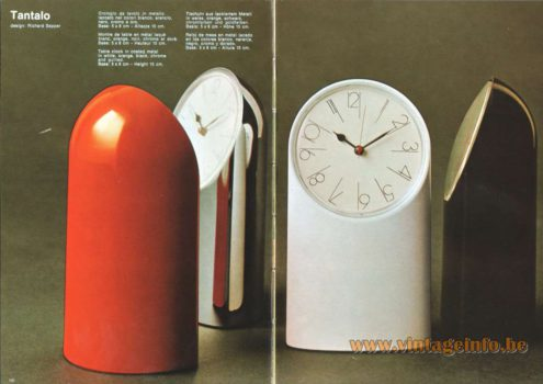 Artemide Catalogue 1973. Artemide Tantalo Table Clock. Design Richard Sapper.