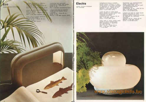 Artemide Catalogue 1973. Artemide Eco Table Lamp, Design: Luciano Annichini. Artemide Electra Table Lamp, Design: Giuliana Gramigna.