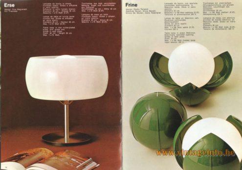 Artemide Catalogue 1973. Artemide Erse Table Lamp, Design: Vico Magistretti. Artemide Frine Table Lamp, Design: Studio Tetrarch, Adelaide Bonati, Silvio Bonatti, Enrico De Munari, Carla Federspiel.