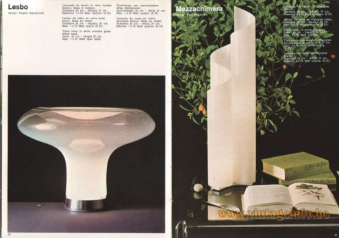 Artemide Catalogue 1973. Artemide Lesbo Table Lamp, Design: Angelo Mangiarotti. Artemide Mezzachimera Table Lamp, Design: Vico Magistretti.