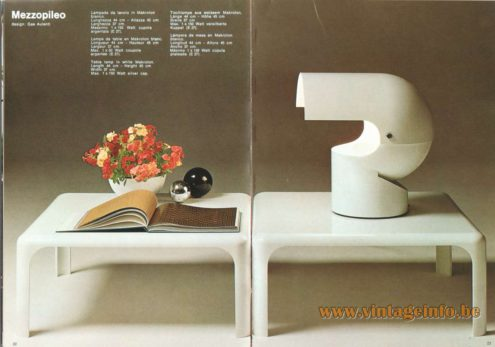 Artemide Catalogue 1973. Artemide Mezzopileo Table Lamp, Design: Gae Aulenti.
