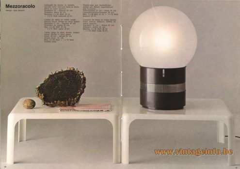 Artemide Catalogue 1973. Artemide Mezzoracolo Table Lamp, Design: Gae Aulenti.