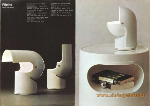 Artemide Catalogue 1973. Artemide Pileino Table Lamp, Design: Gae Aulenti.