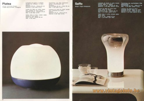 Artemide Catalogue 1973. Artemide Platea Table Lamp, Design: Leonardo Ferrari, Franco Mazzucchelli Tartaglino. Artemide Saffo Table Lamp, Design: Angelo Mangiarotti.