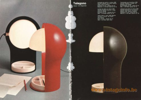Artemide Catalogue 1973. Artemide Telegono Table Lamp, Design: Vico Magistretti.