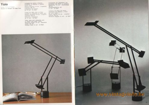 Artemide Catalogue 1973. Artemide Tizio Table Lamp, Design: Richard Sapper.