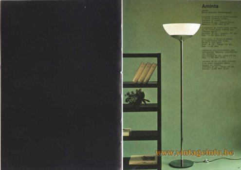Artemide Catalogue 1973. Artemide Aminta Floor Lamp, Design: Emma Gismondi Schweinberger.