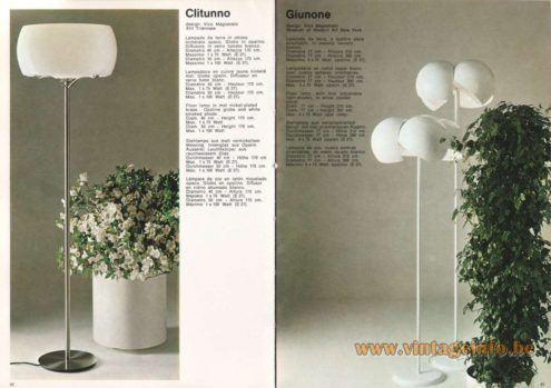 Artemide Catalogue 1973. Artemide Clitunno Floor Lamp, Design: Vico Magistretti. Artemide Giunone Floor Lamp, Design: Vico Magistretti.