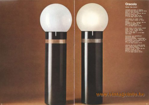 Artemide Catalogue 1973. Artemide Oracle Floor Lamp. Design: Gae Aulenti