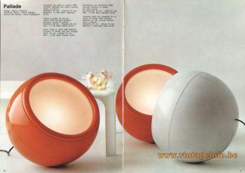Artemide Catalogue 1973. Artemide Pallade Floor Lamp, Design: Studio Tetrarch, Adelaide Bonati, Silvio Bonatti, Enrico De Munari, Caria Federspiel