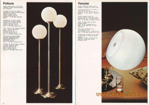 Artemide Catalogue 1973. Artemide Polluce Floor Lamp, Design: Anna Fasolis, Enzo Mari Concorso, Studio Artemide-Domus. Artemide Vacuna Floor Lamp, Design: Eleonore Peduzzi.