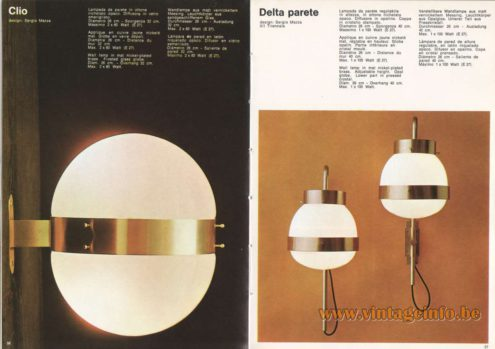 Artemide Catalogue 1973. Artemide Clio Wall Lamp & Delta Parete Wall Lamp, Design: Sergio Mazza.