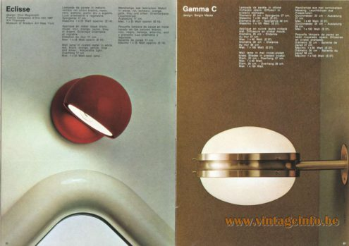 Artemide Catalogue 1973. Artemide Eclisse Wall Lamp, Design: Vico Magistretti Artemide Gamma C Wall Lamp, Design: Sergio Mazza.