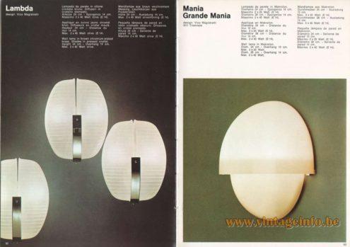 Artemide Catalogue 1973. Artemide Lambda Wall Lamp, Design: Vico Magistretti. Artemide Mania Granda Mania Wall Lamp, Design: Vico Magistretti.